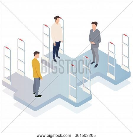 Isometric, Vector Illustration, People Go Through Anti-theft Sensor Gates. Security System Detect Ba
