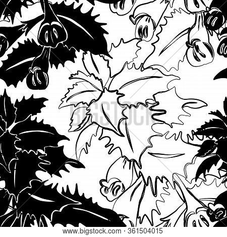 Black And White Seamless Pattern With Forest Herb With Purple Leaves And Yellow Flowers. Herbaceous