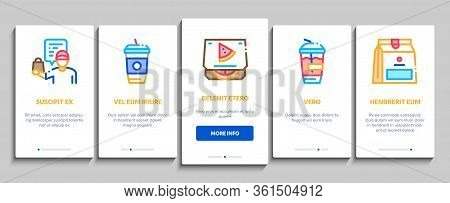 Take Away Food And Drink Delivery Onboarding Mobile App Page Screen Vector. Cooked Pizza And Chicken