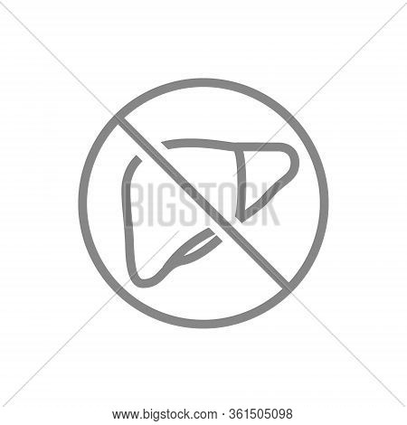 Forbidden Sign With A Liver Line Icon. Amputation Internal Organ, No Liver, Transplant Rejection Sym
