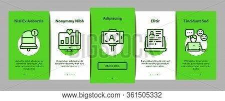 Blogger Internet Social Channel Onboarding Mobile App Page Screen Vector. Blogger Web Site And Likes