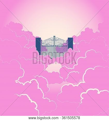 A Vector Illustration Of A Concept Depicting A Majestic Pearly Gates Of Heaven Surrounded By Clouds