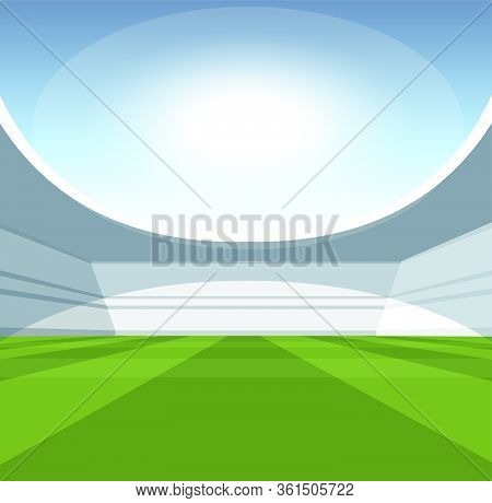 A Vector Illustartion Of A Generic Seated Stadium With A Green Grass Pitch In The Day Time Under A B