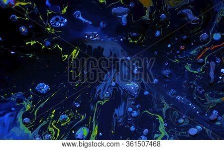 Blue Watercolor Ink In Oil Water. Cool Trending Screensaver.