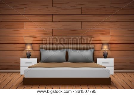 Contemporary Bedroom Interior With Wood Paneling At The Headboard Bed. Trendy Bedroom Interior With