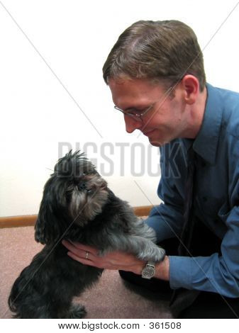 Businessman With Puppy
