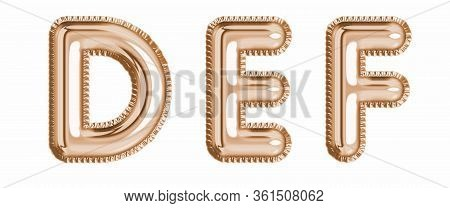 Gold Foil Balloon Alphabet Set Letter D, E, F Realistic 3D Illustration Metallic Pink Gold Air Ballo