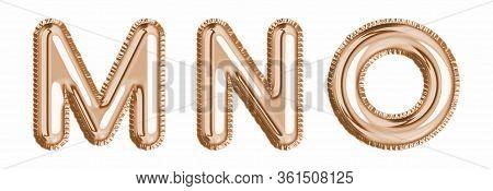 Gold Foil Balloon Alphabet Set Letter M, N, O Realistic 3D Illustration Metallic Pink Gold Air Ballo