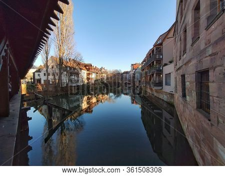 Nuremberg, Germany - January 01, 2020: River Pegnitz In Nuremberg, View From Sight Henkersteg In The