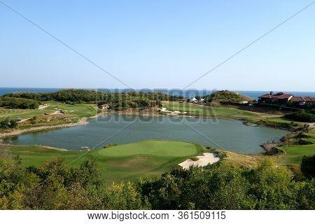 Golf Fields And Black Sea Resort. Seasonal Natural Background.