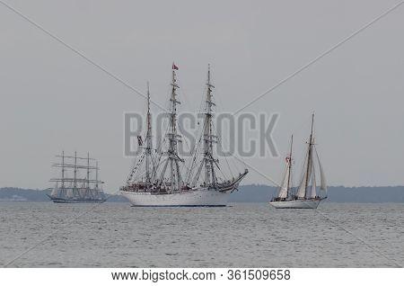 Swinoujscie, West Pomeranian / Poland - 2017: The Norwegian Sailing Ship Statsraad Lehmkuhl Flows On