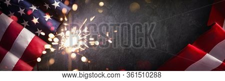 American Flag with Sparklers. United States Independence Day