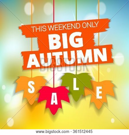 Autumn Thanksgiving Sale Poster Of Discount Promo Web Banner For Fall Seasonal Shopping With Hanging