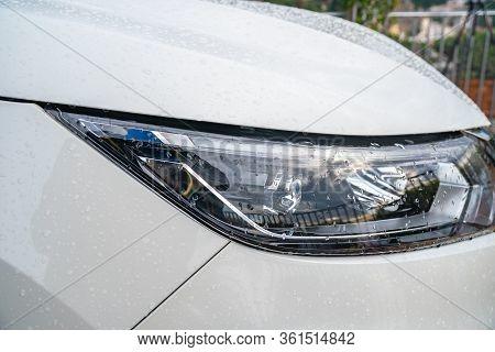 Closeup Headlights Of White Car, Modern Cars Headlight Design