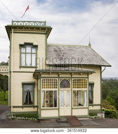 Bergen, Norway - June 28, 2013: The Villa Of Norwegian Composer Edvard Grieg, Troldhaugen Estate Nea