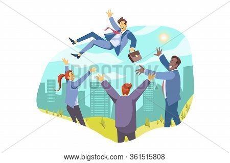 Team, Leadership, Win, Success, Business Congratulation Concept. Team Businesspeople Businessmen Wom
