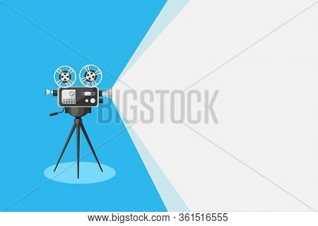 Detailed Retro Movie Projector With Film Reels On A Tripod. Cinema Background. Film Camera Projectin