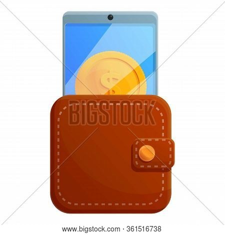 Digital Wallet Icon. Cartoon Of Digital Wallet Vector Icon For Web Design Isolated On White Backgrou