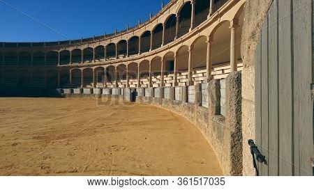 Ronda/spain - 12.01.2017: Plaza De Toros De La Real Maestranza De Caballería De Ronda. Famous Bullri