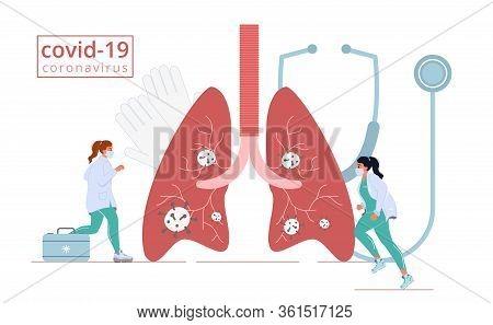 Coronavirus Lungs Attack. Doctor In Mask Emergency Rescue Help. Medicine Pulmonary System Illness Se