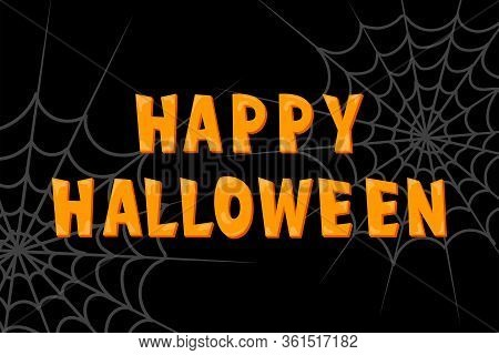 Halloween Party Font Poster With Spider Web On Black Background For Scary Banner, Spooky Holiday Inv