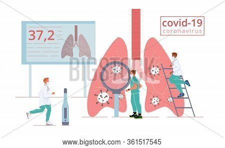 Respiratory Covid19 Coronavirus Attack. Man Doctor Medical Team In Mask Examine Infected Human Lungs