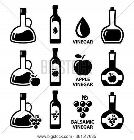 Vinegar Vector Icon Set - Apple Cider Vinegar And Balsamic Vinegar Design In Bottles