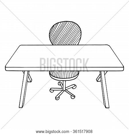 Table And Chair. Home Office Or School Workplace With Desk. Outline Hand Drawn Vector Illustration.