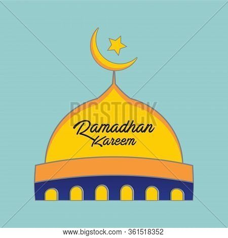 Ramadhan Kareem, Mosque. Mosque Vector Icon, Mosque Ico Isolated In Light Blue Green Background, Isl