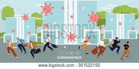 Season Flu, Coronavirus Influenza Pandemic Concept. Worker People Character Run Away Microscopic Bac