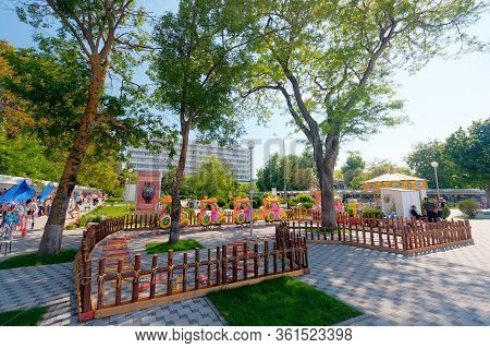 Anapa, Russia - May 29, 2017: Anapa Resort Summer Daylight Sunny Townscape. Children Playground On C