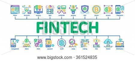 Fintech Innovation Minimal Infographic Web Banner Vector. Bitcoin Financial Technology, Binary Code