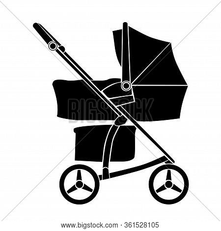 Baby Carriage Icon On White Background. Vector Pram Symbol. Sign Baby Stroller.