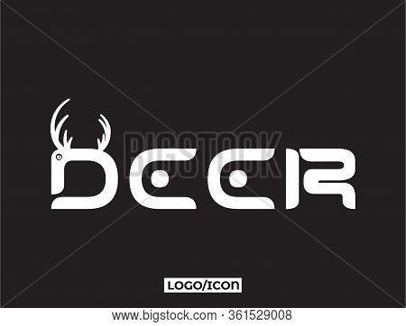 Deer Design Element In Vintage Style For Logo, Label. Deer Silhouette. Deer Cartoon Lettering Text.