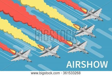 Military Airshow Aircraft Painting Sky With Red Yellow Trails Isometric Top View Blue Background Vec