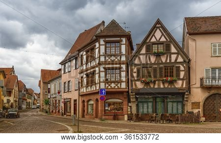 Street And Houses In Obernai By Day, Alsace, France