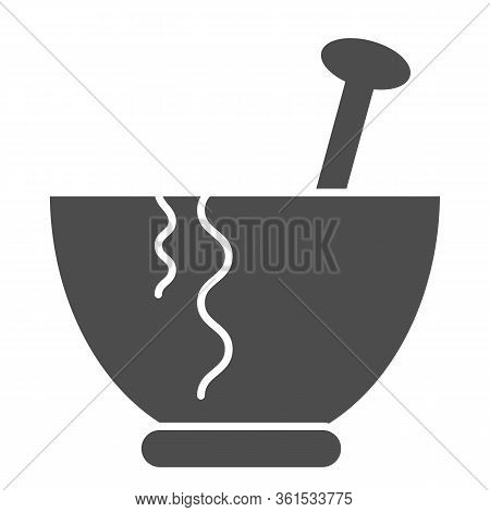 Plate Solid Icon. Plate With Spoon Illustration Isolated On White. Pasta Plate Glyph Style Design, D