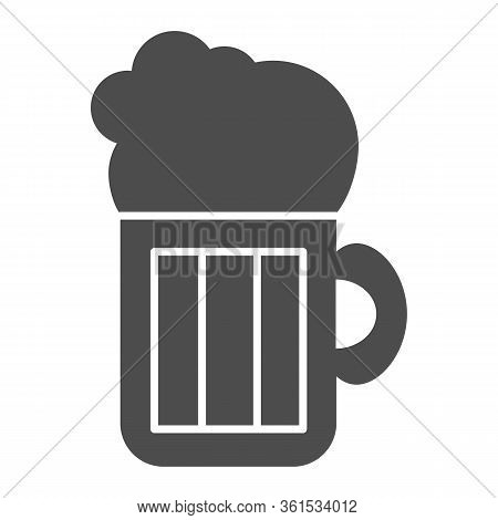 Beer Solid Icon. Beer Mug Illustration Isolated On White. Alcohol Pint Glass With Froth Glyph Style