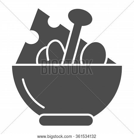 Salad Solid Icon. Salad Plate Illustration Isolated On White. Bowl Full With Meal Glyph Style Design