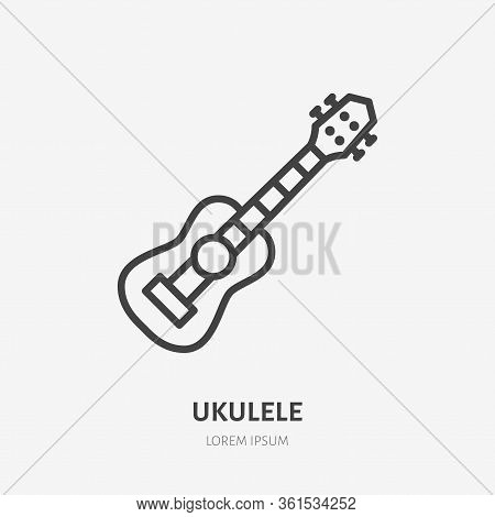 Ukulele Line Icon, Vector Pictogram Of Small Hawaiian Guitar. Musical Instrument Illustration, Sign