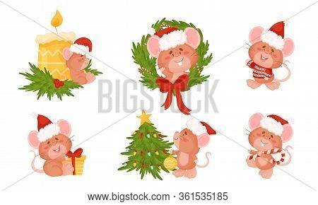 Cute Mouse With Long Tail And Protruding Ears Decorating Christmas Tree And Holding Candy Stick Vect