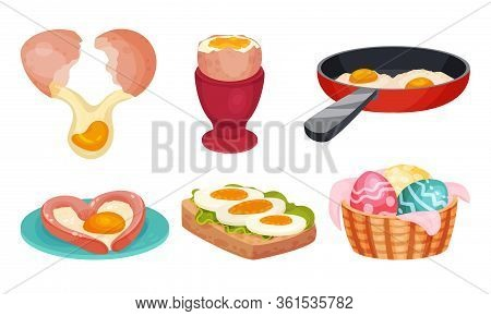 Raw And Cooked Egg With Easter Eggs In Basket And Scrambled Egg On Frying Pan Vector Set