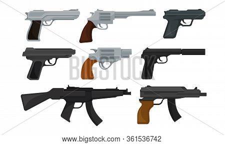 Handguns Or Pistol Models With Firing Trigger For Hunting Vector Set
