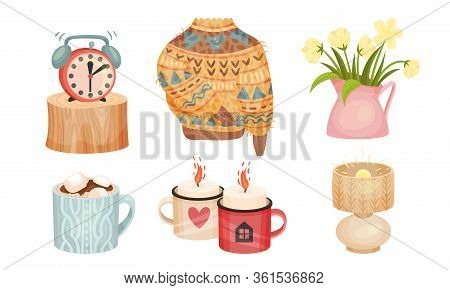 Warm And Cozy Home Things Like Woolen Socks And Knitted Sweater Vector Set