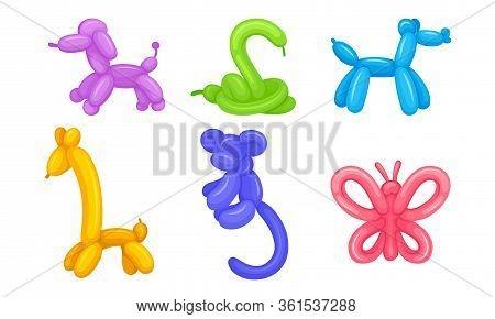 Balloon Twisting Art With Animal Figures Vector Set