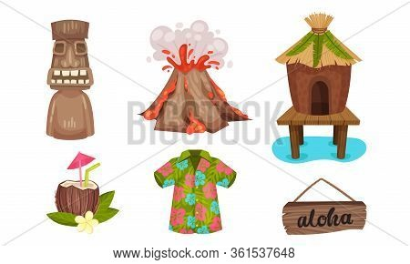 Hawaiian Beach Attributes And Tropical Symbols With Cocktail And Hut Vector Set