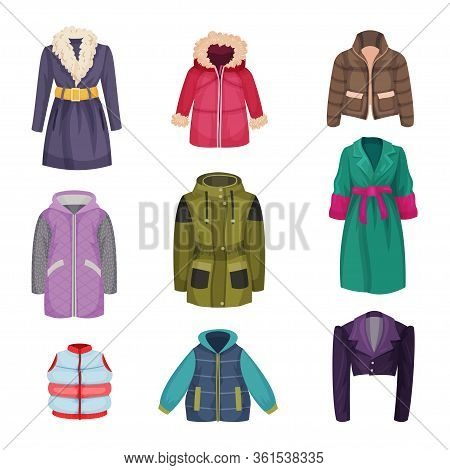 Autumnal And Winter Outerwear With Long Sleeved Clothing Items Vector Set