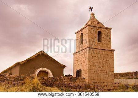 San Bartolome Church Built Of Stone And Adobe, Socaire, Atacama Desert, Antofagasta Region, Chile, S