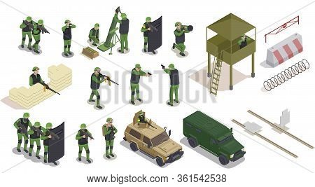 Army Weapons Soldier Isometric Collection Of Isolated Human Characters Icons Of Barriers And Armed M