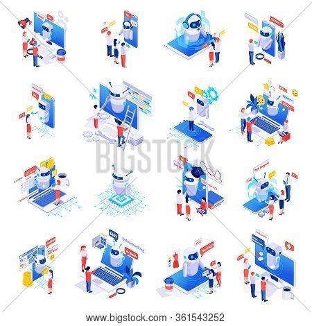 Chatbot Messenger Applications Isometric Set With Personal Task Time Planner Finance Manager Custome